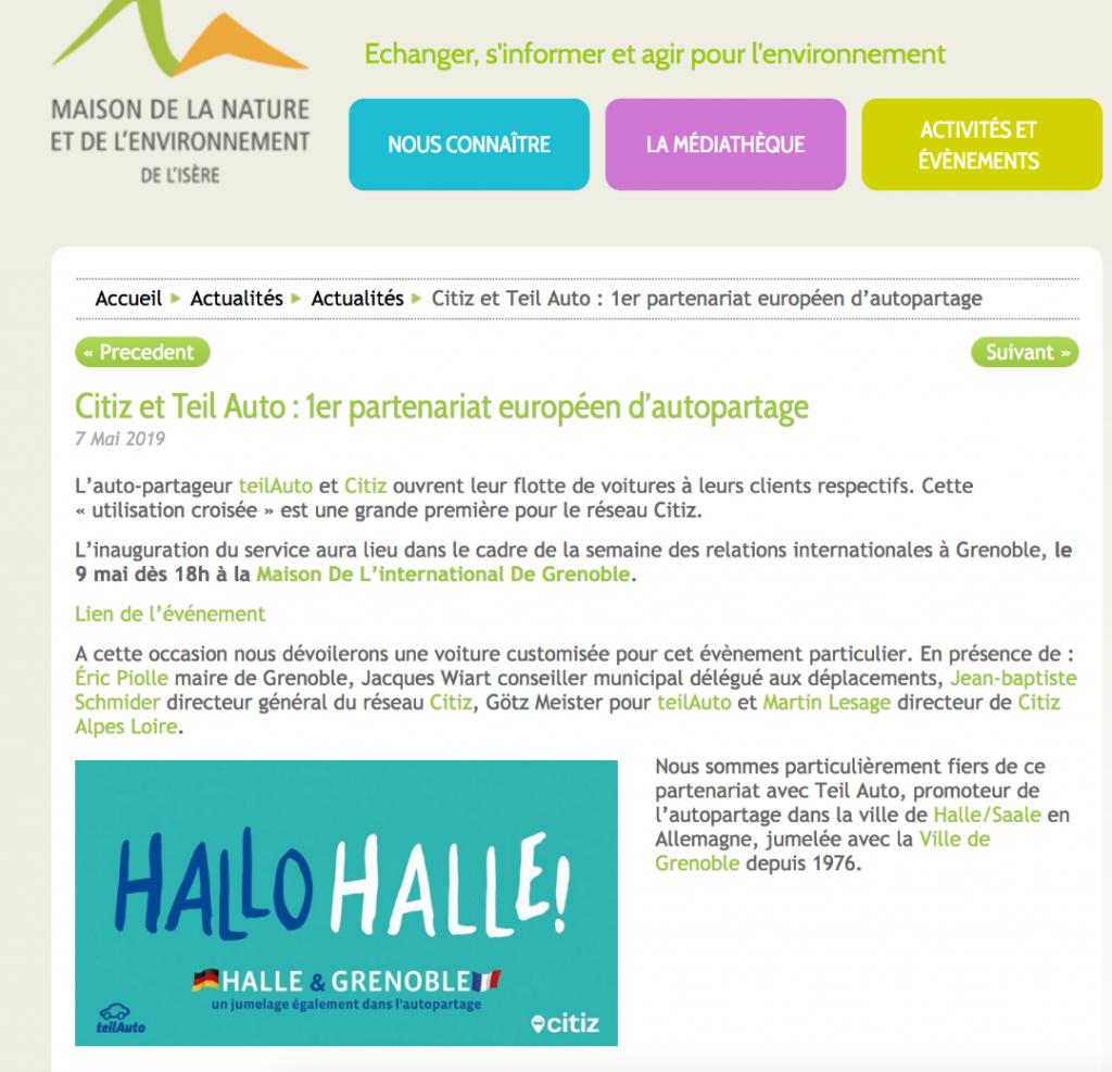Citiz et TeilAuto : 1er partenariat européen d'autopartage
